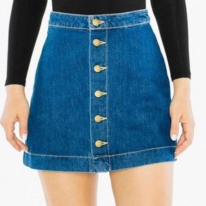 American Apparel Denim Buttoned Front A-line Skirt